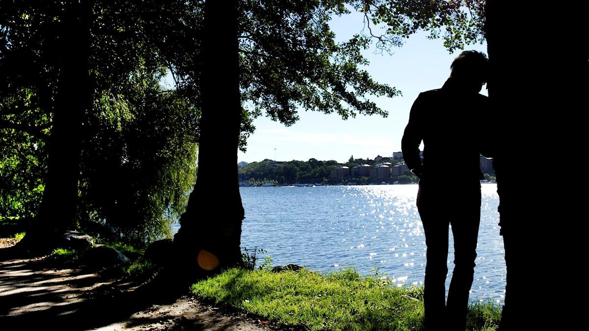 Silhuetten av en deprimerad kvinna som står vid ett träd och tittar ut över vattnet