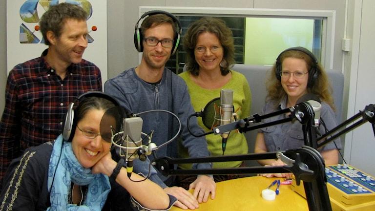 Camilla Widebeck, Gustaf Klarin, Björn Gunér och Torill Kornfeldt i studion.