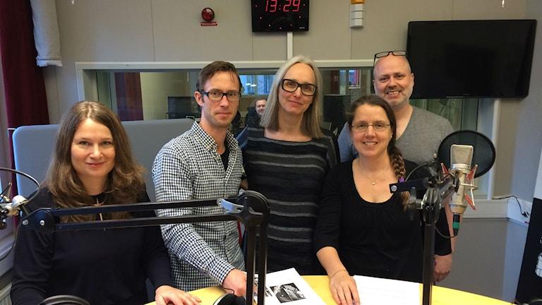 Ulrika Björkstén, Björn Gunér, Annika Östman, Camilla Widebeck och programledare Johan Torstensson framtidsspanar