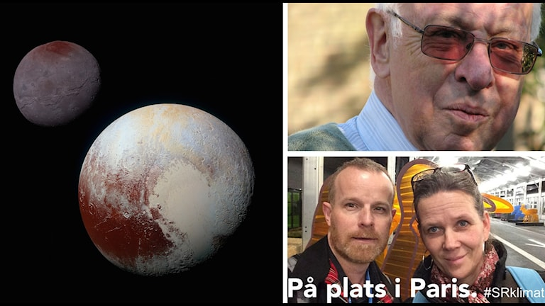 Bildkollage med Pluto, Tomas Lindahl och Klotets medarbetare i Paris. Foto: Nasa/SR