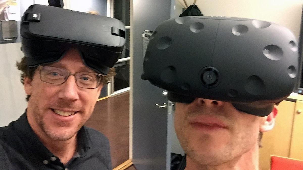 Konrad Tollmar och Björn Gunér i VR-utrustning