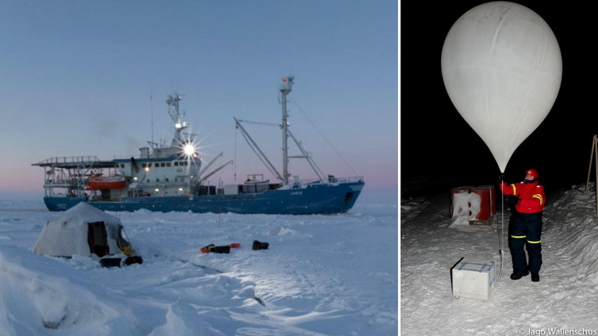 delad bild: ett fartyg omgivet av is och snö och en forskningsballong