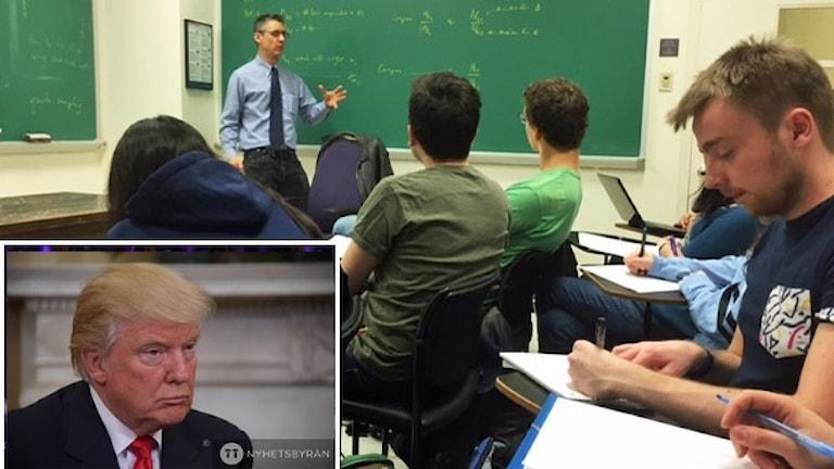 Lektion med elever. Inklippt i bild är Donald Trump.