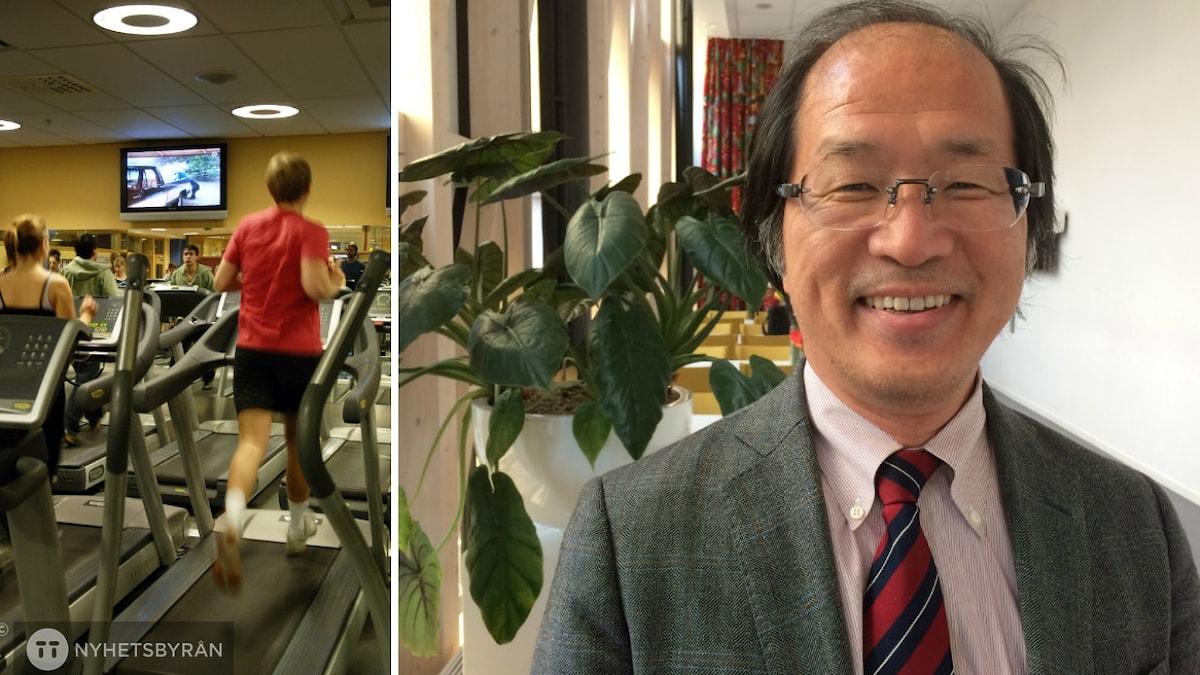 Bildkollage: träningslokal och Izumi Tabata