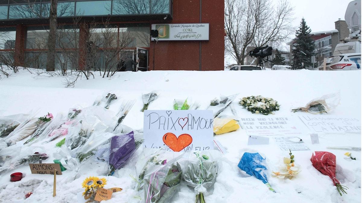 Blommor och hjärtan i snön utanför moskén i Quebec, där sex personer dödades.