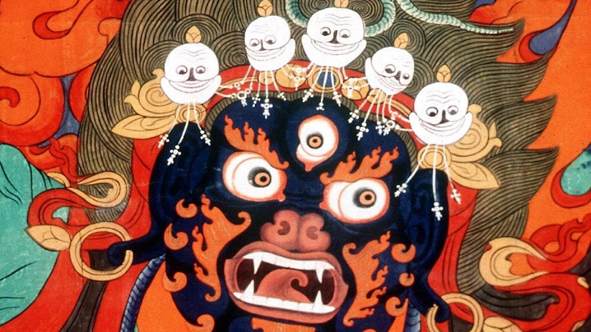 Himlen och helvetet var temat för en utställning vid Royal Museum i Edinburgh, Skottland. Här i en tibetansk buddhistisk målning.