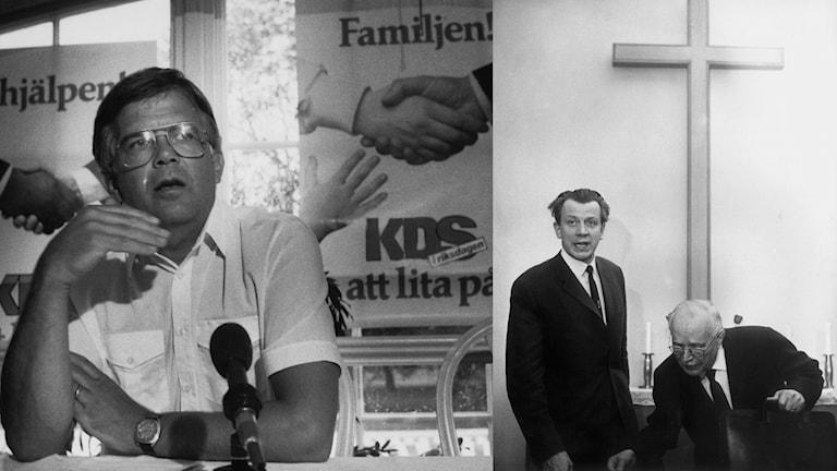 Alf Svensson (t v) ledde KDS/KD i 31 år och tog över posten efter prästen Birger Ekstedt 1973. Ekstedt (i mitten), här med pingströrelsens ledare Lewi Pethrus, blev vald till KDS förste ordförande 1964. Foto: TT