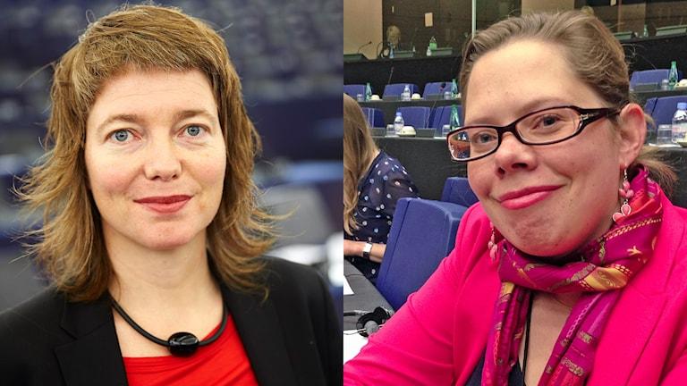 EU-parlamentarikern Malin Björk (V) och Maria Hildingsson, katolska Fafce