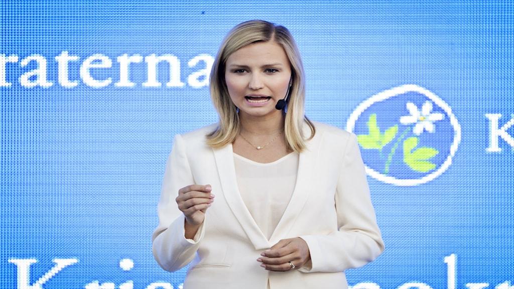 Kristdemokraternas partiledare Ebba Busch Thor håller tal i Almedalen i Visby, under Almedalsveckan 2015. Foto: TT