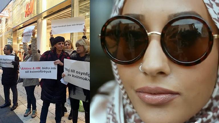 Till vänster: Mahin Alipour och Maria Rashidi protesterar mot reklammodeller i slöja. Skärmdump av H&M-reklamfilm.