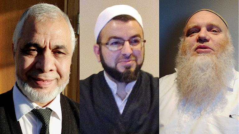 Imamerna Mahmoud Khalfi, Salahuddin Barakat och Mohammad Muslim. Foto: Teresa Kristoffersson/Sveriges radio