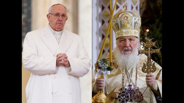 Påve Franciskus I och Rysk-ortodoxa kyrkans Patriark Kirill.