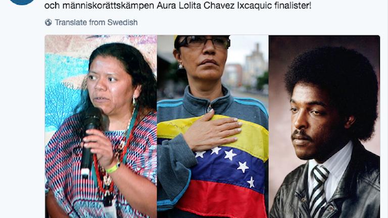 De tre finalisterna i tweet från Europaparlamentet