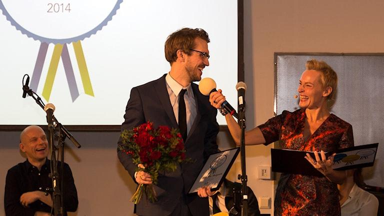Nuori Ruotsinsuomalainen 2014 Viktor Fors Mäntyranta Virpi Inkerin haastateltavana. Foto: Akseli Kaukoranta