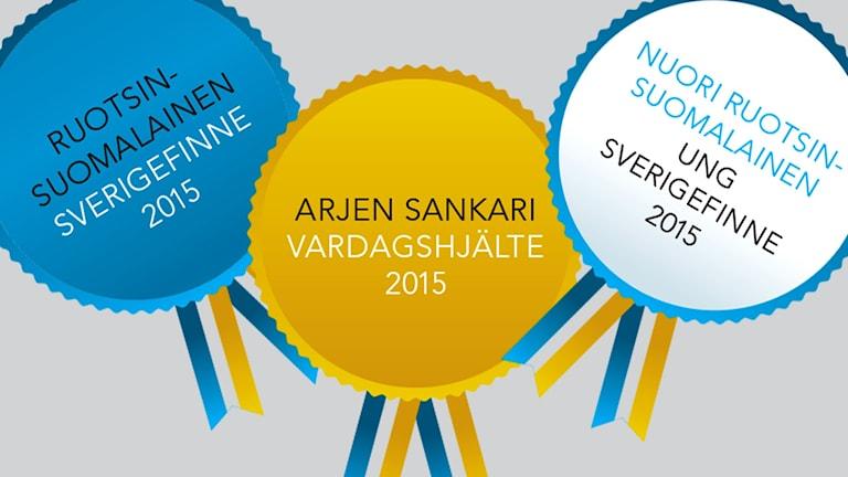 Ruotsinsuomalaiset 2015/Sverigefinnar 2015 logo. Kolage: Virpi Inkeri/SR