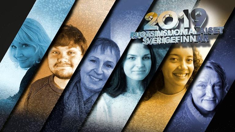 Kollagekuva vuoden 2019 Ruotsinsuomalaiset -ehdokkaista: Heidi Lehto, Kalle Kinnunen, Maarit Turtiainen, Viivi Paavonperä, Yolanda Ngarambe ja Anna Takanen.