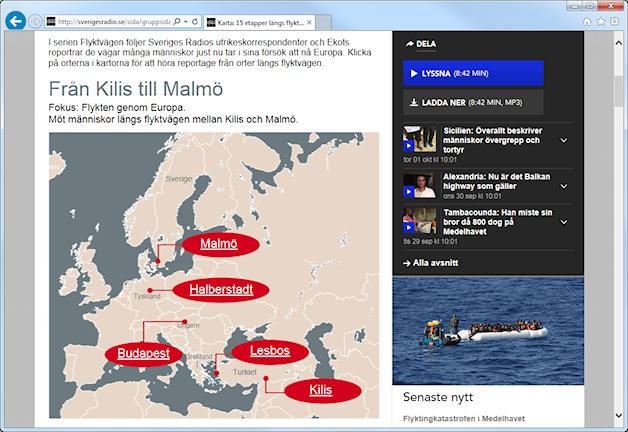 Bild på karta över flyktvägen