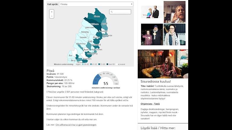 Så här ser kartan från undersökningen om undervisning i minoritetsspråk ut i desktop