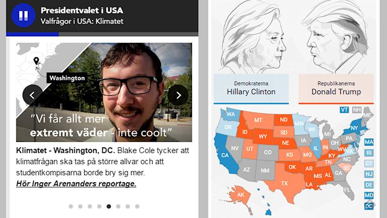Bild visar den ljudande swipern och livegrafik över opinionssiffror i USA. Illustration: Liv Widell, Ekot