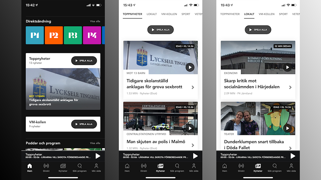 Bilder ur appen Sveriges Radio Play.