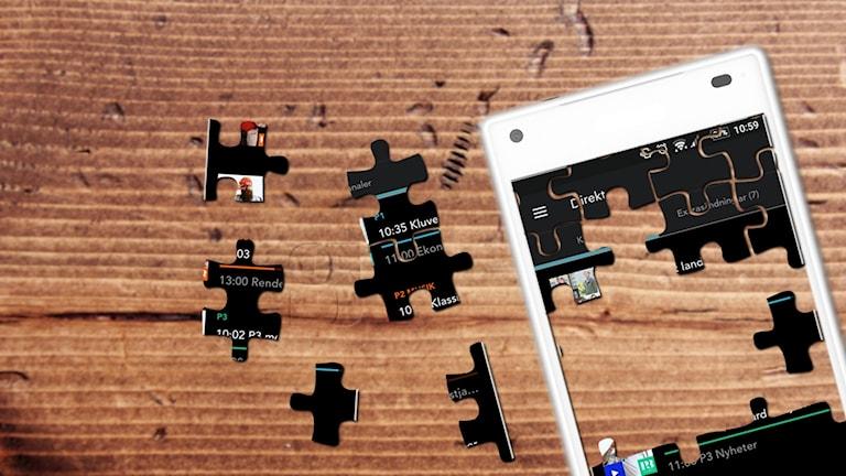 En mobiltelefons skärm har delats upp i ett halvlagt pussel.