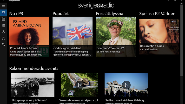 Sveriges Radio på Xbox, Windows 10, Windows Mobile