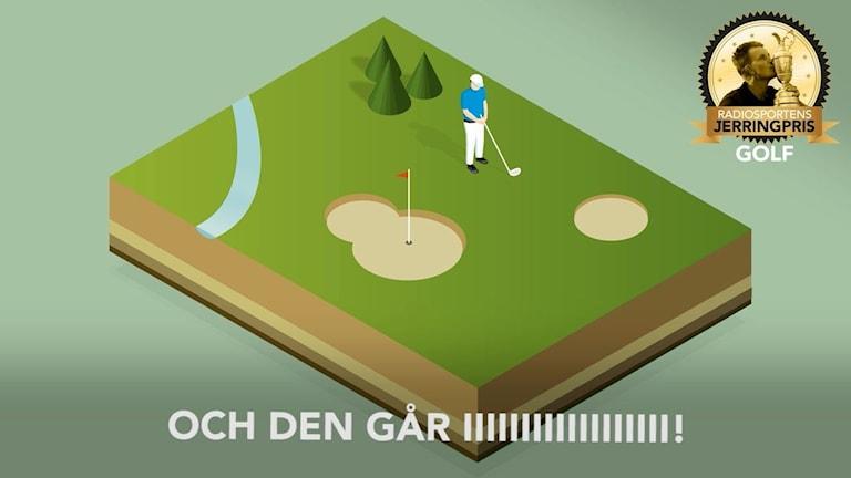 En tecknad golfspelare slår i golfbollen, i hörnet en bild på Henrik Stenson kyssandes pokal. Vit text: Och den går i. Illustration: Liv Widell, Ekot