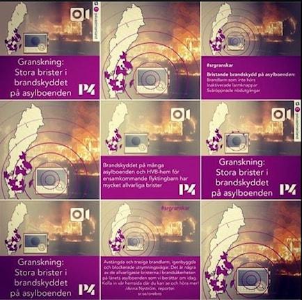 Mallen för instagrambilder användes flitigt av de olika P4-stationerna. Radion och P4-färgen skapade en grafisk profil på både webb (den interaktiva kartan) och sociala medier.