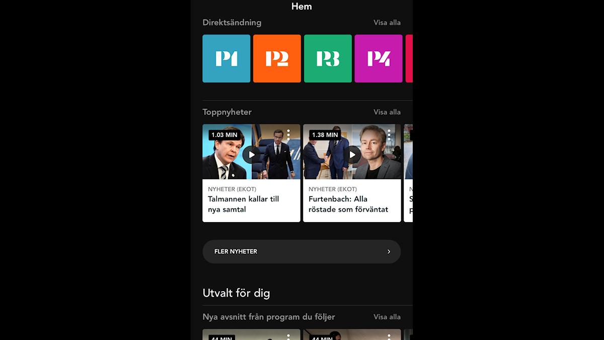 Toppnyheter och ingången till Fler nyheter på hemskärmen i Play
