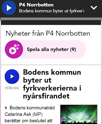 Testet - spela alla inslag, som det ser ut i mobilen