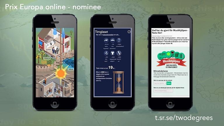 Tre bilder av mobiltelefoner med miljöbild, timglas, och miniräknare i samt texten Prix europa online nominee och länken t.sr.se/twodegrees