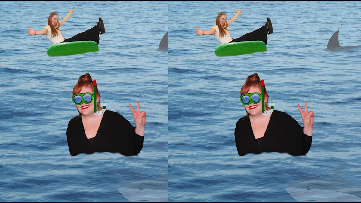 Kollage med Linnea och Sara i vatten, men badring och snorkel samt hajar.
