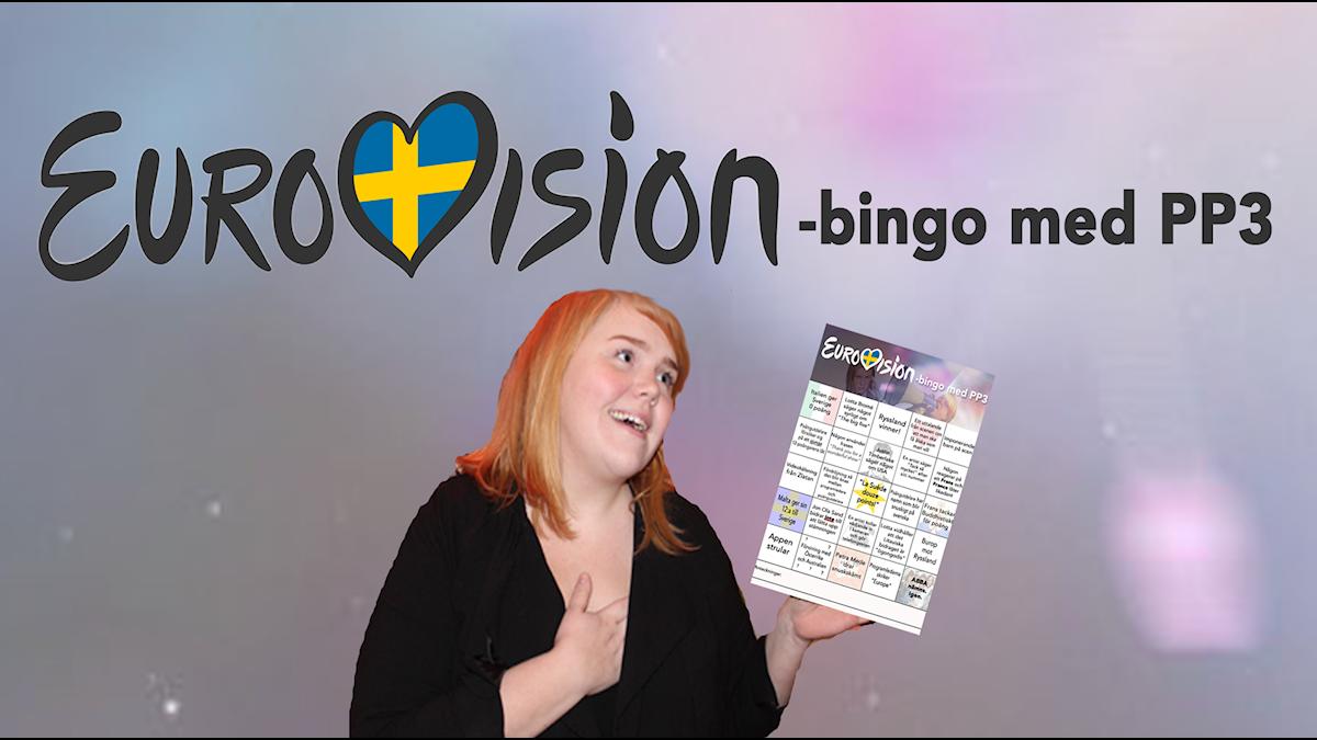 Text: Eurovision- bingo med PP3. Bild: en bildpå linnea när hon håller i bingot.