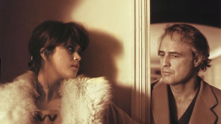 Bild på Maria Schneider och Marlon Brando från filmen Last Tango in Paris