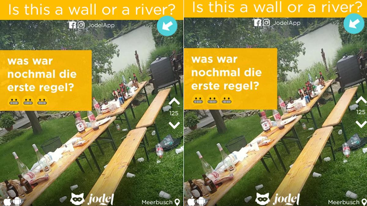 Bild från jodel som undrar om det är en mur eller flod