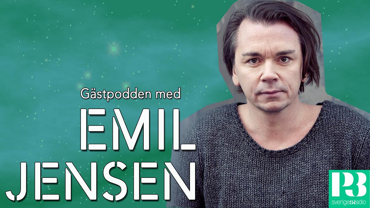 En bild på Emil Jensen med texten* gästpdoden med Emil Jensen