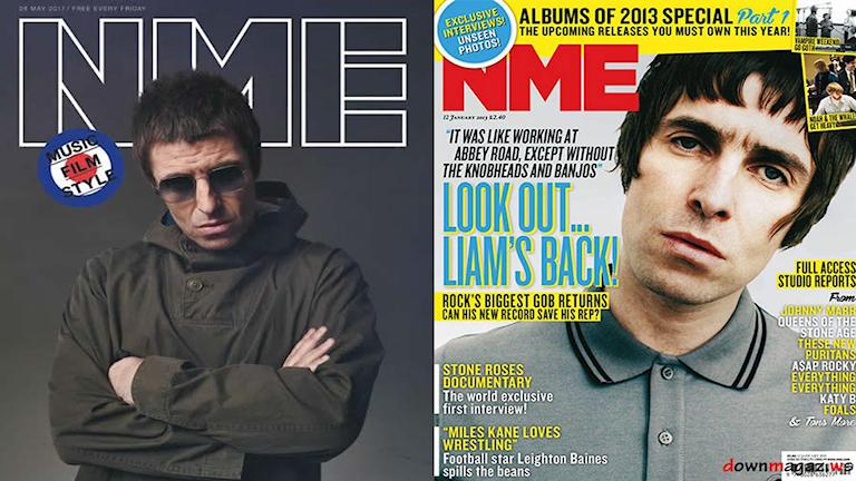 Två bilder på omslagen från NME där Liam Gallagher är på