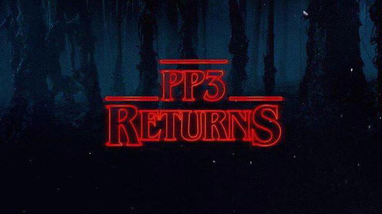 """En bild med texten """"PP3 returns"""" i röda bokstäver"""