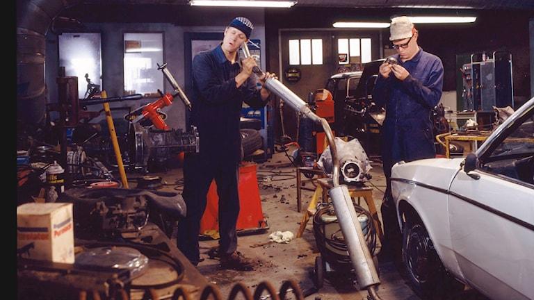 Galenskaparna och After Shave som Roy och Roger i filmen Macken - en film om två bröder och en mack. Inspelad 1990. Foto: Juri Soomägi.