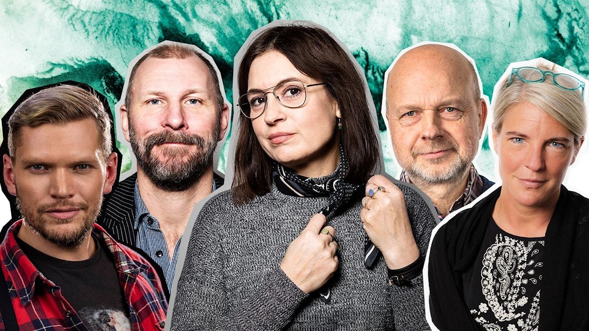 Deltagarna i Politiska poddpulsen: Henrik Torehammar, Kalle Lind, Susanna Dzamic, Gunnar Bolin, och Sara Stenholm Pihl.