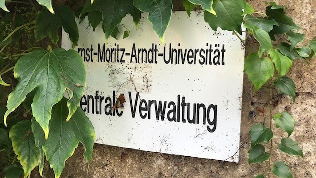 Skylt med namnet Ernst moritz arndt