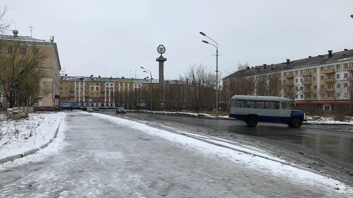 Torget i Vorkuta, staden med 70 000 innvånare väntas försvinna om 30 år.