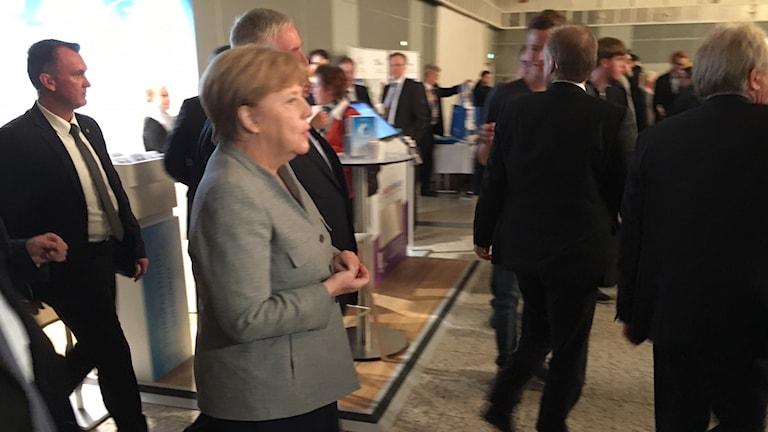 Förbundskansler Angela Merkel på valmöte i Dortmund i lördags.
