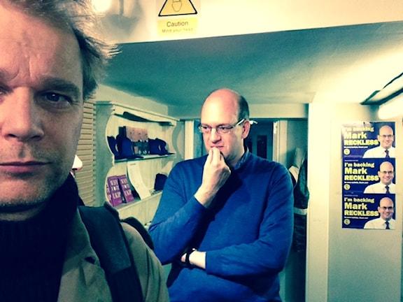 Mark Reckless som hoppade av till Ukip. I förgrunden SR:s Kristian Åström.