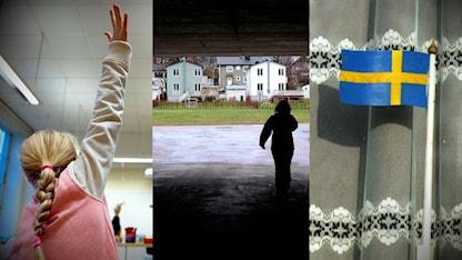 Grundskoleelev räcker upp handen. Silluet av kvinna som går genom en gångtunnel mot ett villaområde. Svensk flagga i fönster med virkade gardiner.