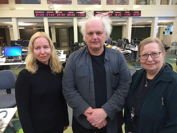 Anna Dahlberg, Expressen, Göran Greider, Dalademokraten och Elisabeth Sandlund, Dagen. Foto: Anders Diamant/SR
