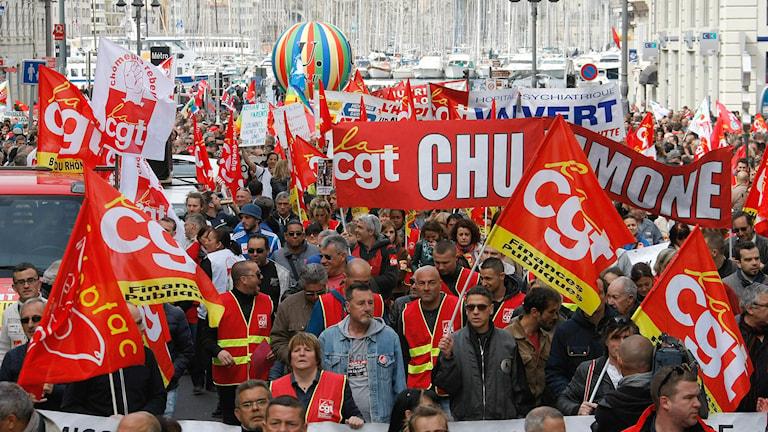 Demonstrationståg i Marseille, Frankrike