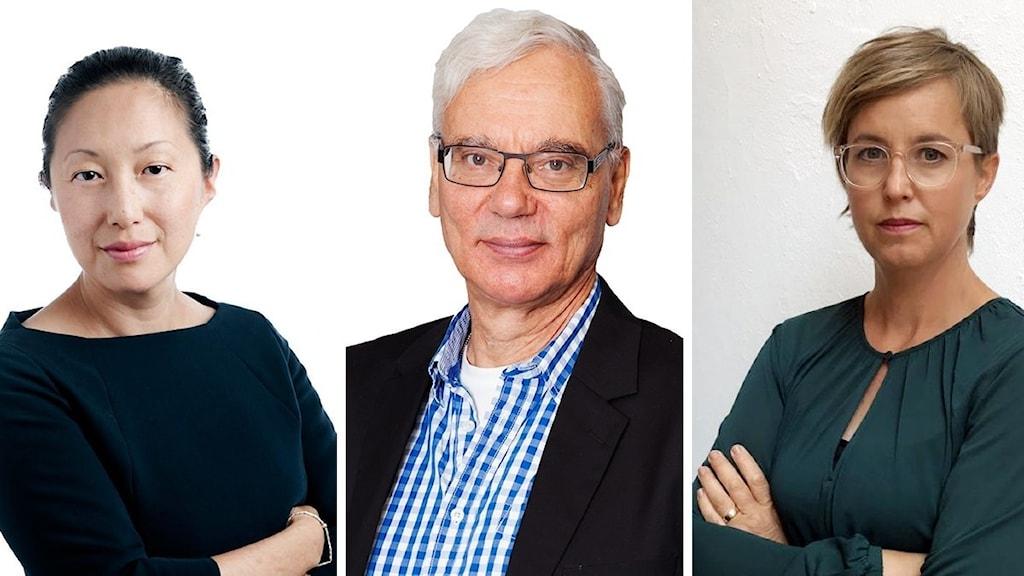 Tove Lifvendahl (SvD), Martin Klepke (Arbetet), och Lisa Pelling (Dagens Arena)