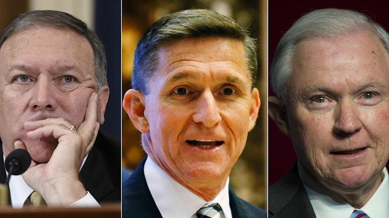 Mike Pompeo, Michael Flynn och Jeff Sessions kommer att vara med och styra USA framöver.