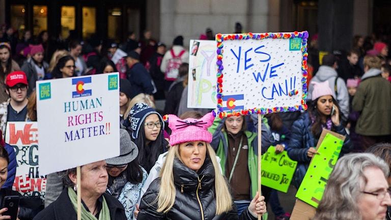 Kvinnomarsch Washington dagen efter presidentinstallationen 2017.